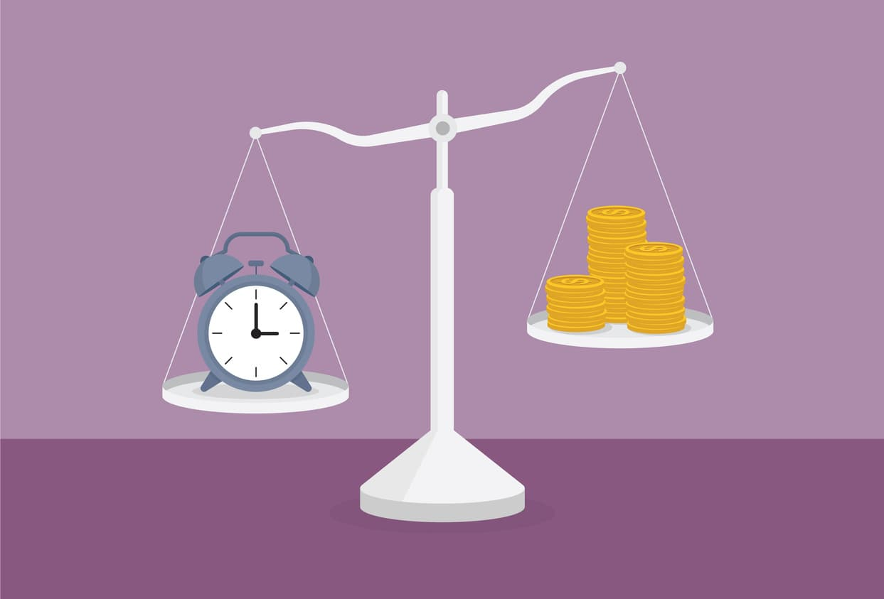 Clock and a stack of coin on the scale